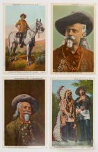 Collection of Buffalo Bill Related Ephemera. Various dates and publishers. Including a piece of pen and ink cartoon artwork by Z.A. Hendrick; a lithograph die-cut mounted on Masonite; a series of photographs from Buffalo Bill?s ranch and mansion; postcards; two pieces of wood said to be from Buffalo Bill?s original mansion before its restoration; and other souvenirs. Various sizes, the largest being 8 ¾ x 13?. Fair to very good.