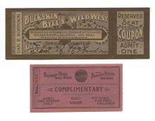 Robinson, Dan. Signed Buckskin Bill?s and Buffalo Bill?s Wild West Show Ticket. Circa 1900. Reserved seat coupon for Buckskin Bill?s Realistic Wild West show, signed by Dan R. Robinson, together with Buffalo Bill?s Wild West and Pawnee Bill?s Far East Complimentary ticket (1911). Very good.