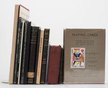 "[Miscellaneous] Shelf of 18 Reference Titles on Playing Cards and Gambling. Including Old Playing Cards (1940) by Kolb; Gutenberg and the Master of Playing Cards (1966) by Lehmann-Haupt; The Art of the Playing Card: The Cary Collection (1973); Playing Cards (1931) by Benham; Catalogue of Playing & Other Cards in the British Museum (1876); Catalogue of Schreiber Playing Cards (1901); History and Origin of Playing Cards (1935) by Zovello; History of Playing Cards (1865) by Taylor; ""Early Italian Card Games"" (1900) by Steele, a journal extract bound in cloth; various catalogs and monographs; and a deluxe folio edition of The Heathen Chinee (Nash, 1934) with illustrations and a separate volume of bibliographical notes. Generally very good."