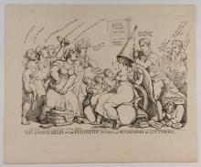 """Fairburn, John. The Chance Seller of the Exchequer. London, 1823. A political cartoon protesting a reform of the lottery system and increase in taxes. 14 x 9 ½"""". Some foxing affecting the image. Good."""