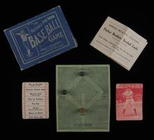 "The National-American Baseball Game. New York, London, and Salem: Parker Brothers, 1913. 50 (complete) + Game Board + 3 Wood Men + Instruction Sheet + OB. The rare red backs depict Hall of Famer Napoleon ""Nap"" Lajoie (inducted 1937) of the Cleveland Indians. Excellent."