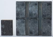 """Two Printer's Blocks. Maker unknown, American, ca. 1930. Pair of vintage printing blocks for playing card games. 7 x 7"""" and 2 ¼ x 3 ¼""""."""