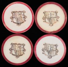 """Four Shield Inside Red Rim Ivory Poker Chips. English (?), ca. 1880. Not listed in Seymour. 1 ½"""". Excellent."""