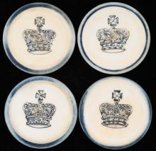 """Four Crown Inside Blue Rim Ivory Poker Chips. English (?), ca. 1880. Not listed in Seymour. 1 ½"""". Excellent."""