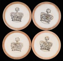 """Four Crown Inside Yellow Rim Ivory Poker Chips. English (?), ca. 1880. Not listed in Seymour. 1 ½"""". Excellent."""
