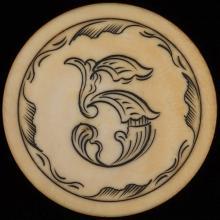 "Five Dollar Ivory Poker Chip. American, ca. 1890. Five dollar ivory poker chip with outside rim tinted red. 1 ½"" diam."