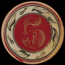 """Five Dollar Ivory Poker Chip. American, ca. 1890. Five dollar ivory poker chip with outside rim, edge and middle all tinted red 1 ½"""" diam. Excellent."""