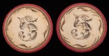 """Two Five Dollar Ivory Poker Chips. American, ca. 1890. Red rim with leaf border. 1 ½"""" diam. Excellent."""