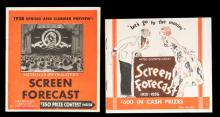 1935-36 and 1938 MGM Screen Forecast. Hollywood, 1935  38. Metro Goldwyn Mayer's original vintage promotional brochures. Spring and Summer Preview. Stars portrayed include Clark Gable, Norma Shearer, Joan Crawford, Greta Garbo, Jean Harlow, Jackie Cooper, Spencer Tracy, Laurel and Hardy, and the various movies in which they star with release dates in 1935 and 1936. Good.