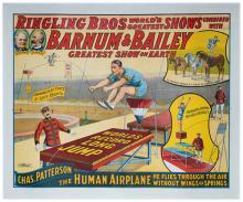 Ringling Bros. Barnum & Bailey/Charles Patterson, The Human Airplane. Cincinnati: Strobridge Litho, 1916. One-sheet (39 _ x 33