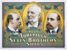 Adam Forepaugh and Sells Brothers/Portraits of Founders. Cincinnati: Strobridge Litho, 1900. One sheet (38 x 26