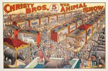 Christy Brothers 5 Ring Wild Animal Show. Milwaukee: Riverside Print Co., 1920s. One-sheet (40 x 30