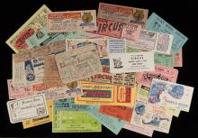 Collection of Circus Tickets, Passes, Membership Cards. 1940  1960s. More than 150 pieces. Both used and unused tickets included, comprising the following circuses: King Bros., Wallace Bros.; Crafts 20 Big Shows; Hunt Bros.; Ringling Bros & Barnum and Bailey; James Bros. Variety; Biller Bros. 3 Ring Wild animal Circus; Cristiani Wallace combined Circus; Bailey Bros.; Clyde Beatty Cole Bros.; Mills Bros.; Frazier Bros.; Bailey Bros.; Hagen Bros.; Cole All Star; Cartoon Circus; Hunt's Circus; United Nations Circus; Al G. Kelly; Birnam Bros.; John Robinson's Circus; King Bros.; Royal International; Sells Bros.; Great American; Cristiani Bros.; Sells-Gray; Hoxie and Bardex Bros.; Von Bros.; Hippodrome; Yankee Patterson; E. Snapper Ingrams Colossal Circus; Dailey Bros.; Tex Carson Wild Animal Circus; Wally Yee Shows; and others. Good to very good.