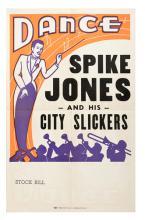 Spike Jones and His City Slickers. Central Show Print Co., Mason City, IA, 1950s. Unused quarter sheet (14 x 22