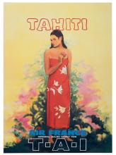 Air France. T-A-I Tahiti. 1950s. Half-sheet (18 x 25