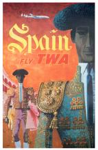 Klein, David. TWA 쳌 Fly to Spain. 1957. One-sheet (40 x 25