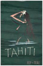 Fly TEAL Tahiti. 1950s. One-sheet (38 _ x 25