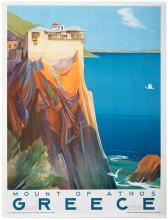 Mount of Athos, Greece. Printed in Greece, ca. 1949. One-sheet (38 _ x 25