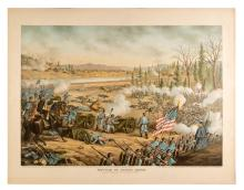 Battle of Stone River. Civil War Lithograph. Chicago: Kurz and Allison, 1891. Original chromolithographed print (22 x 28