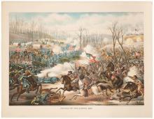 1862 Battle of Pea Ridge. Civil War Lithograph. Chicago: Kurz and Allison, 1891. Original chromolithographed print (22 x 28