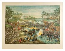 1862 The Battle of Shiloh. Civil War Lithograph. Chicago: Kurz and Allison, 1886. Original chromolithographed print (22 x 28