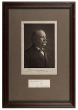 766. Cleveland, Grover. Signed and Dated Grover Cleveland Cabinet Card. Philadelphia: F. Gutekunst, 1903. Cabinet photo of Grover Cleveland (1837-1908) signed and dated on the mount 'Grover Cleveland, Feb. 17, 1905.