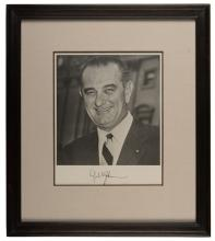 768. Johnson, Lyndon B. Signed Photograph of President Lyndon Baines Johnson. Undated black-and-white photo print of the 36th President of the United States (1963-1969). Boldly signed 'Lyndon B. Johnson.