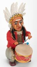 881. Indian Joe Toy. Japan, Alps, 1950s. Battery operated toy. Litho tin and fabric. 12