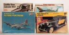 958. Carton of Miscellaneous Automobiles and Airplane Model Kits. U.S. and Japan: Testors, Hasegawa, 1960s. Several Mint in Box (MIB) models of various sizes and styles, mostly manufactured in the 1960s. Includes Cadillac Town Cabriolet 1933 1/24 scale, 1931 Bugatti Royale 1/24 scale, Boeing B-17G Flying Fortress 1/72 scale; Mitsubishi A6M5 Zero Fighter 1/32 scale.