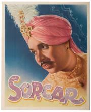 """Sorcar, P.C. Sorcar. India, ca. 1950. Color lithographed portrait poster (18 x 22""""). Linen-backed. Old folds faintly visible. A-."""