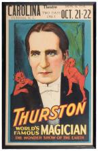 """Thurston, Howard. World's Famous Magician/ Wonder Show of the Earth. Cleveland: Otis Lithograph Company, ca. 1935. Color lithographed window card (14 x 22"""") bearing a portrait of Thurston with imps on his shoulders. Framed; not examined outside frame."""