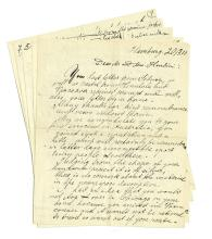 """[Houdini, Harry] Correspondence to Houdini Regarding Imitators and Other Matters. Including a fascinating nine-page holographic letter written to Houdini in 1910 regarding a competitor and his inferior milk can escape, and including diagrams and editorial comments, signed """"Fred""""; two TLSs to Houdini regarding the publication of Houdini's life story in a British newspaper; and a TLS introducing Houdini to a glass manufacturing company in London; and a fragment of a telegram possibly bearing Houdini's holographic note. The largest on one 4to sheet. Condition generally good."""