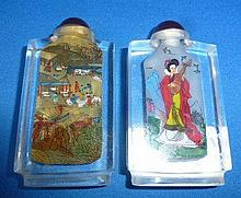 Pair Of Chinese Snuff Bottles, Village Scene And Lady Scene