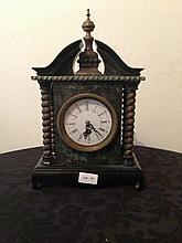 Marble Mantel Clock With Turned Columns White Face