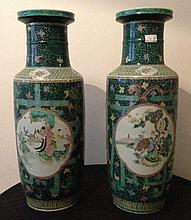 Pair Of Chinese Vases With Fine Decoration Of