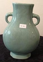 Chinese Double Handled Green Porcelain Vase