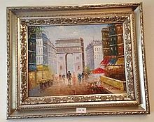 Framed Oil On board, Arc de Triumph, bears