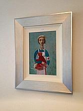Constantine Popov oil on board, Nurse with Red