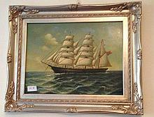 Framed oil on board, Clipper Ship, bears signature