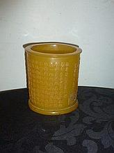 Chinese Yellow Brushpot Carved With Writing