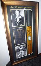 Sir Donald Bradman framed and signed Cricket Bat Memorabilia