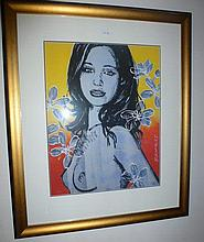 David Bromley limited edition giclee, Mallory with Frangipanis, signed 70cm H x 54cm W