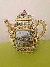 Chinese Tea Pot Decorated With Yellow Tones , River & Mountain scenes. Marks to Base 18 cm x 18cm