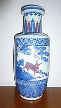 Chinese Blue & White Vase Decorated With Dear To