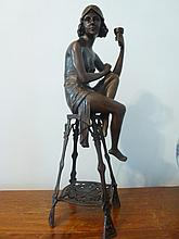 Art Nouveau style bronze lady on chair. Height