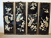 Chinese Black Lacquer Mother Of Pearl Inlayed Four