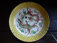 Chinese Dragon Plate Marks To Base Diameter 23cm