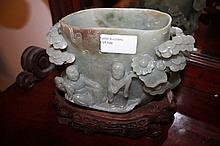Rare Chinese Jade Brush Pot  On Stand Highly Carve
