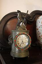Fantastic Bronze  Figural Clock Surrounded By Ruby