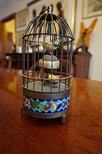 Bird Cage Shaped Clock With Cloisonne Decoration 1